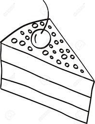 Slice of cake clipart black and white