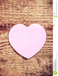 Vintage Valentines Day Card With Paper Heart On Rustic Wooden Ba