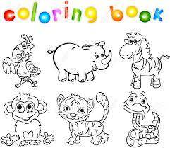 Conjunto De Animales Salvajes Segundos Libro Para Colorear Para Los