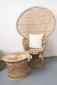 Vintage Wicker Peacock Chair Boho Chic Furniture Sunroom Patio Deck Porch
