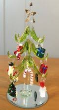 LS ARTS GREEN CRYSTAL CHRISTMAS TREE 12 REMOVABLE GLASS ORNAMENTS