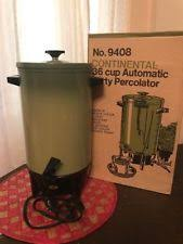 Vintage Continental 36 Cup Electric Coffee Maker Percolator Avocado Green In Box