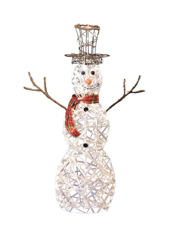 Sienna 3D Wire Snowman Christmas Decoration - White Metal, 48""