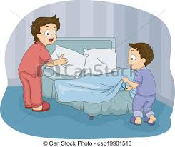 Clipart make bed boy