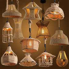 retro loft vintage hemp rope pendant light diy pendant l e27