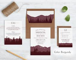 Mountain Wedding Invitation Sets Forest Invites Recycled Kraft