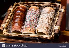 Traditional German cake in wicker basket Stock Royalty Free