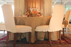 Long 10 Seat Table Burlap Tablecloth And Dining Chair Slipcovers
