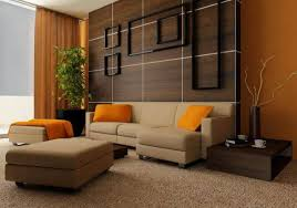living room brown curtain wooden wall wooden table carpet plants