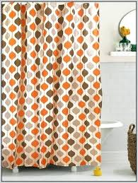 Strikingly Beautiful Orange And Gray Shower Curtain Curtains Blue