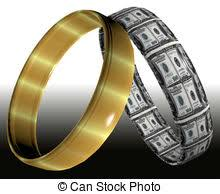 Two different rings symbolizing prenuptial contracts and agreements on the consequences of divorce