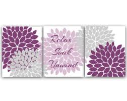 Bathroom Canvas Wall Art Relax Soak Unwind Prints Purple And Gray Decor