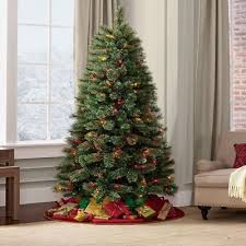 Pre Lit New Tall 7 Foot Artificial Christmas Tree LED Multicolor Lights Green