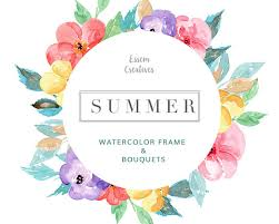 Tropical Watercolor Wreath Clipart Floral Frame Clip Art Summer Beach Wedding Colorful Flower Background