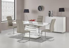 100 White Gloss Extending Dining Table And Chairs Aspen High 160200cm