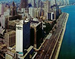 Late 60 s view of the Holiday Inn Lake Shore Drive in downtown