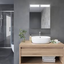 badezimmer led spiegelschrank mit beleuchtung 2 türig