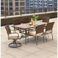 7 Piece Patio Dining Set With Umbrella hampton bay patio dining furniture patio furniture the home