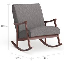 Carson Carrington Granite Grey Fabric Mid Century Wooden Rocking Chair Leisure Made Pearson Antique White Wicker Outdoor Rocking Chair With Tan Cushions 2pack Wrought Iron Fniture Tables Marvelous Metal Chairs Coral Coast Cove Retro Arm Vintage Sewing Caddy Pin Cushion Gripper Jumbo Nouveau Scenic Table Retrovintage Chair Vintage Rocking Collage Makeover Charles Eames Style Cool Plastic Bright Fabric Lumber Armchairs