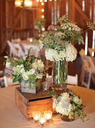 Wedding Flowers Centerpieces Combined With Elegant White Roses Arrangements In Transparent Glass Country Vase On Rustic Wooden