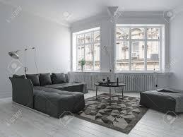 helles wohnzimmer in minimalistischem design mit weißen wänden dunklen möbeln und ecke wand mit großen fenstern 3d rendering