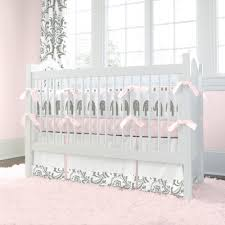 Pink and Gray Elephants Crib Bumper