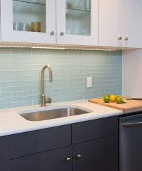 backsplash 1 by 6 inch brick glass tiles in icelandic blue
