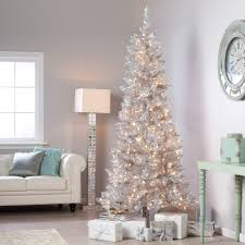 Hayneedle Flocked Christmas Trees by Have To Have It Silver Tiffany Tinsel Pre Lit Christmas Tree