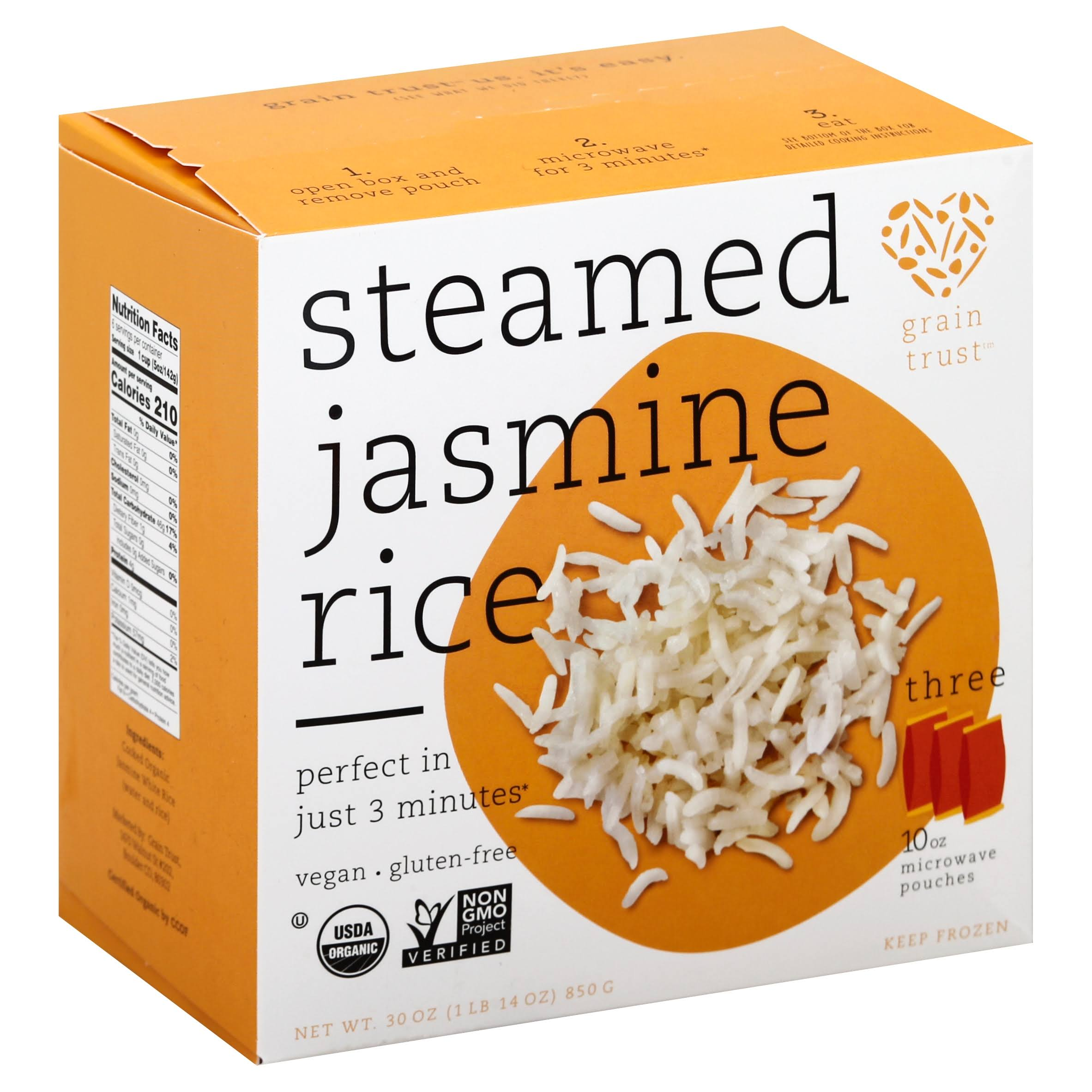 Grain Trust Jasmine Rice, Organic, Microwaveable Pouches - 3 pack, 10 oz pouches