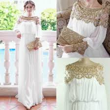 2015 kaftan evening dresses golden beads prom gowns with a line