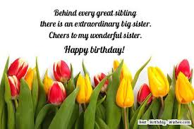 A birthday wish for elder sisters Behind every great sibling is an extraordinary big sister Cheers to my wonderful sister Happy birthday