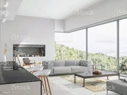 modernes wohnzimmer und küche mit blick auf die natur stockfoto und mehr bilder architektur
