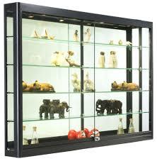 Marvelous Wall Mounted Display Case W Top Halogen Lights Mirror Office Cases Back Locking Black