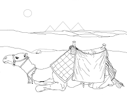 Free Printable Camel Coloring Page Egyptian Pyramids
