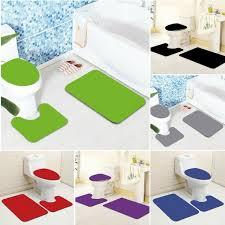 3 tlg badteppich badematte badgarnitur teppich vorleger läufer wc 10 farben set