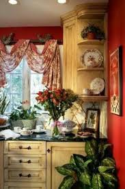 French Country Kitchen Curtains Ideas by French Country Love The Finish On These Cabinets Love Red In