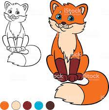 Ilustración De Colorear Página Me De Color Fox Lindo Bebé Pequeño