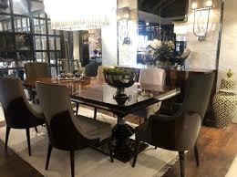 casa padrino luxus deco esszimmer stuhl set dunkelgrau dunkelbraun hochglanz küchen stühle 6er set edle deco esszimmer möbel