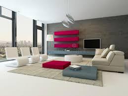moderner wohnzimmerinnenraum mit steinwand und rotem schrank