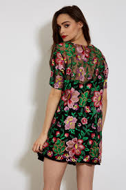 pink and green embroidered sheer t shirt dress u2013 ragyard