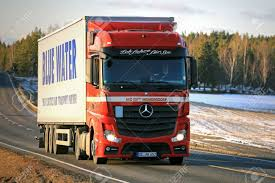 100 Mercedes Semi Truck SALO FINLAND MARCH 4 2017 Red Benz Actros 1845 Stock