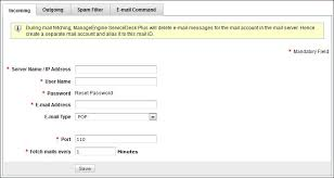Configure email server settings