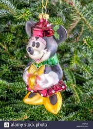 Christmas Bauble Hanging From A Tree In The Shape Of Minnie Mouse