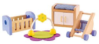 hape wooden doll house furniture baby s room set furniture