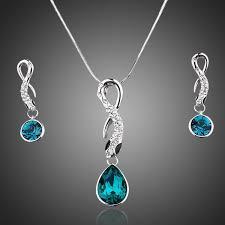 swarovski siege jewelry set smoothly blue swarovski elements with cubic zirconia