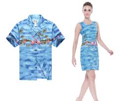 matching made in hawaii men shirt and women tank dresses in blue