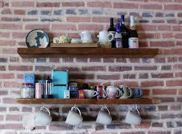 Reclaimed Wood Floating Shelf Mug Hooks
