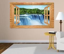 3d wandtattoo niagara wasserfälle natur wasserfall fenster wandbild wohnzimmer wand aufkleber 11l1873