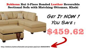 Poundex Bobkona Sectional Sofaottoman by Bobkona Rui 3 Piece Bonded Leather Reversible Sectional Sofa With