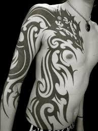 Arm Chest Side Tribal Dragon Tattoo By Apocaript